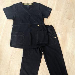 Wonderwink black scrubs pants & top scrub uniform